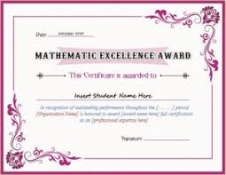 Award Of Excellence Certificate Template Mathematics Excellence Award Certificate Template for MS Word 53