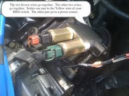 how to wire up your msd rpm activated switch for your vvl run the white msd wire into the passenger compartment and splice it into 3 light blue orange stripe wire on the ecu plug the wire in my hand the