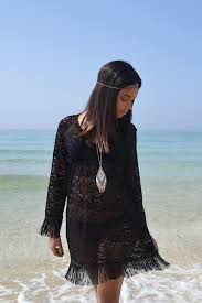 Fringe Lace Beach Kaftan Black The Boutique