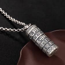 whole 925 solid sterling silver fashion jewelry tibetan buddhism mantra amitabha prayer box pendant a2863 number pendant necklace stone pendant necklace