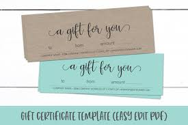 Gift Certicate Template Gift Certificate Template Editable Gift Card Pdf