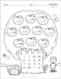 Phonics printable worksheets and activities (word families). Long Vowels I Y Phonics Tree Printable Skills Sheets