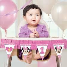 minnie 1st birthday high chair decorating kit 2 pcs