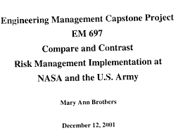 nasa versus army capstone project samples and examples nasa and u s army comparison excerpt