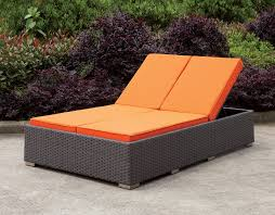 Patio Recliner Chairs Dixie Contemporary Style Orange Fabric Cushions Light Brown