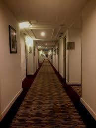 hallway vanishing point. straight corridor illuminated architecture passage vanishing point hallway no people indoors working
