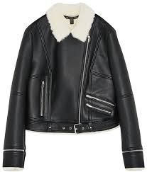 zara black white faux leather faux fur lined moto motorcycle jacket size 6 s jackets