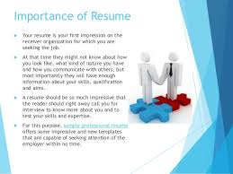 Importance of Resume .