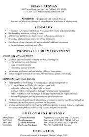 Warehouse Manager Cv Sample. Functional Resume Sample