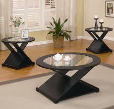 3pc black x style coffee table set