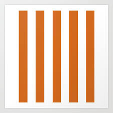 Cinnamoncitation Needed Orange Solid Color White Vertical Lines Pattern Art Print