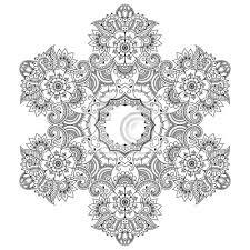 Nálepka Henna Tetování Mandala Omalovánky Stránku