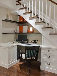 hidden home office. Furniture, Breathtaking Hidden Under Stairs Storage Taking Comfy Home Office Spot With L Shaped Top R