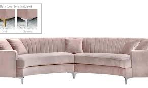 lidia 82 fabric 2 pc chaise sectional sofa with storage ottoman meridian furniture navy soft velvet