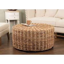 coffee table woven ottoman stool outdoor wicker white large tray with round rattan coffee table
