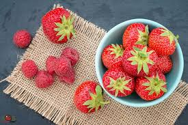 bowl of strawberries. Plain Bowl Small Bowl Of Strawberries And Raspberries Inside Of
