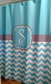 shower curtain chevron fabric you choose colors 70 74 78 84 or 96 in extra long monogram personalized in aqua blue