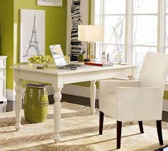 home office decorating tips. Office : Alluring Home Decorating Ideas With White Wooden Table And Chair Also Green Wall Paint Plus Lamp Shade Tips On How To