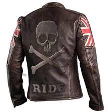 men s biker vintage cafe racer leather jacket with uk flag and embossed skull