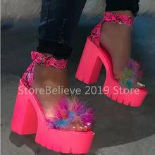 summer high heeled slippers water