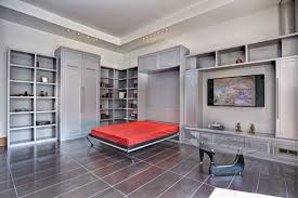 silver polished metal murphy bed with wall tv stand and bookcase also wardrobe using red bed alluring murphy bed desk