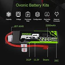 <b>OVONIC 11.1V</b> 2200mAh <b>3S</b> 25C Lipo Battery with Deans Plug for ...