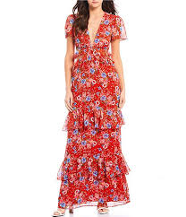 Wayf Lavina Floral Print Cutout V Neck Tiered Ruffle Maxi Dress