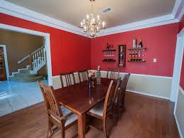 dining room red paint ideas. Cheerful Red White Two Tone Wall Paint Ideas Feats Vintage Wooden Dining Sets And Chandelier Room O