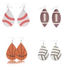 2019 personalized baseball basketball leather earrings sports rugby volleybal teardrop dangle hook earrings girl unique jewelry for women from dhcomcn