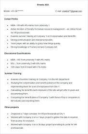 Resume Summary Samples For Freshers Sample Resume For Hr Fresher