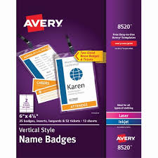 Avery Event Tickets Ave 8520 Avery Vertical Event Tickets Name Badges Kit Ave8520