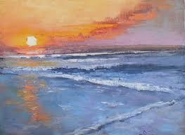 sunset and sea painting small seascape daily painting small oil painting sun falls to the sea 11x14x1 5 oil painitng