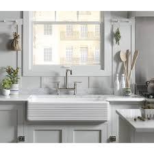 Apron Front Kitchen Sink White Kohler K 6349 0 Whitehaven Hayridge Undermount Double Bowl Kitchen