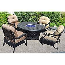 propane fire pit table with chairs. propane fire pit table set elisabeth 5pc deep seating cast aluminum patio furniture desert bronze with chairs r