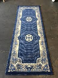 R Traditional Wide Runner Area Rug Blue Design 101 32 Inches X 7 Feet 3