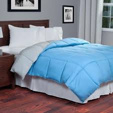 reversible blue grey down alternative twin comforter