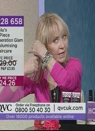 tv qvc. lulu on tv channel qvc promoting her anti-ageing beauty range time bomb qvc t