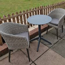grey wicker weave tub chair outdoor set