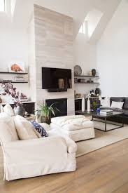 living room : Cozy Living Room With Suede Sofas And Tile Fireplace ...