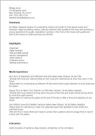 1 Gallery Assistant Resume Templates Try Them Now Myperfectresume