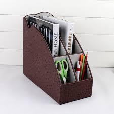 desk office file document paper. Rack File Stand Organizer Pen Holder Box4-slot Wood Leather Desktop Office Document Stationery Desk Paper F