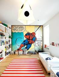 superhero area rug kids bedroom wallpaper with open shelving unit and small platform bed for single superhero area rug
