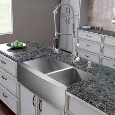 vigo vg15269 all in one 36 inch farmhouse stainless steel double bowl kitchen sink and chrome faucet set