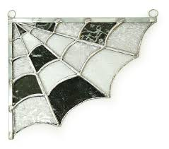 free stained glass spider web window corner pattern