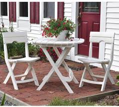 quik fold white 3 piece folding outdoor patio deck cafe bistro table chairs set