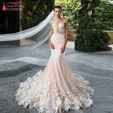 pink champagne mermaid lace wedding dresses sexy o neck backless