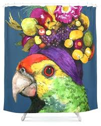 party parrot shower curtain cafepress tropical curtains