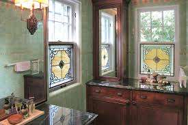 bathroom stained glass window with bevels and jewels