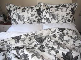 cool image of bedroom decoration using flower black and white duvet covers including flower pattern black bed sheet and cream bedroom wall paint