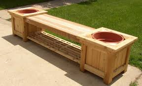 garden landscaping: Long Size Wood Bench Ideas Had Two Space For Plant And  Shelf In
